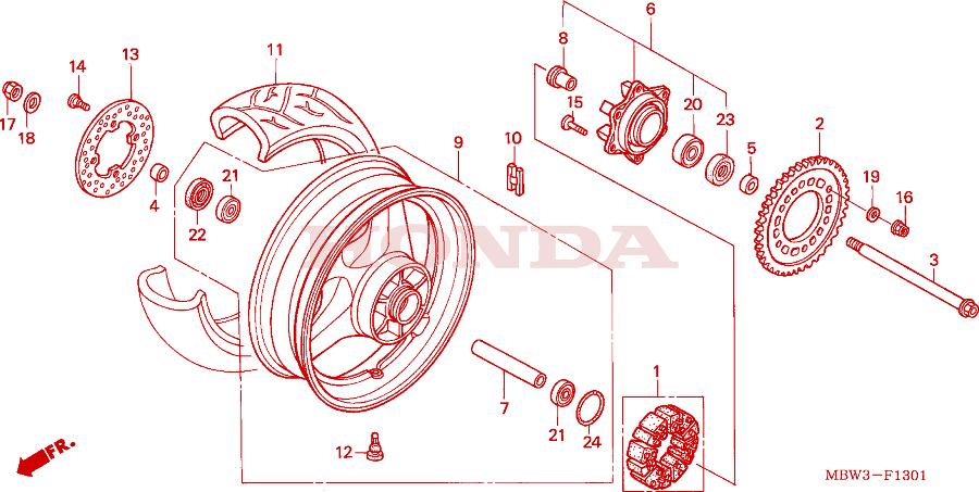 Схема заднего колеса: